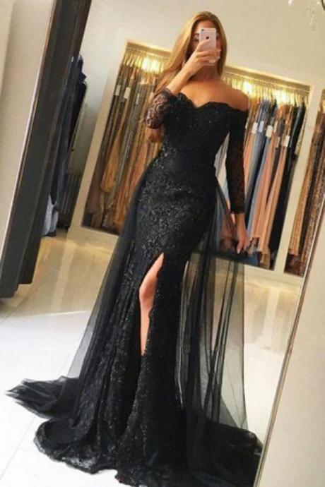Prom Dresses,Mermaid Prom Dress,Off the Shoulder Long Sleeve Prom Dresses,Elegant Evening Party Dress,Side Slit Prom Gowns, Lace Tulle Sweetheart Formal Dresses,