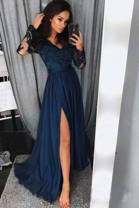 Prom Dresses,A Line Prom Dresses,Long Sleeve Prom Dresses,V Neck Beads Slit Prom Evening Dresses,Formal Party Dresses,Long Prom Dresses,