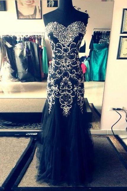 High Quality Black A-line Sweetheart Neckline Long Prom Dresses, Evening Dresses, Pegeant Dresses, Formal Party Dresses, Special Occasion Dress,