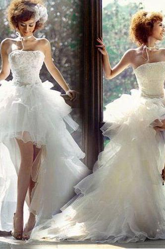 New Fashion High Low White Beach Wedding Dress,Tulle High Low White Bridal Dress,Wedding Gowns 2015,Sexy White Prom Dress,Dress For Wedding,