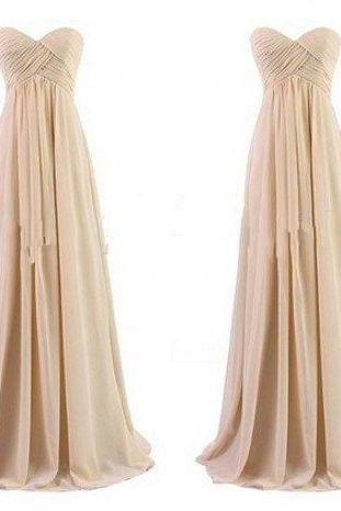 Custom Made A Line Chiffon Long Champagne Bridesmaid Dresses,Champagne Bridesmaid Gowns,Champagne Evening Dress,Bridal Dress For Weddings,