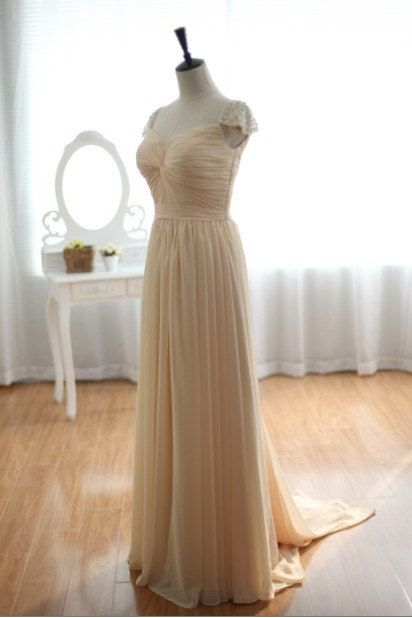 Custom Made Champagne A Line Sweetheart Chiffon Floor Length Prom Dress, Elegant Evening Dress,Dress For Prom,Long Bridesmaid Dresses