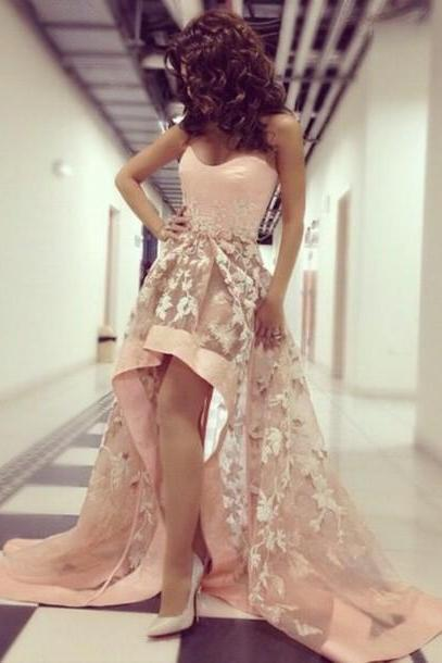 Custom Made High Quality High Low Formal Dress With Appliques, High Low Formal Dress,Dress For Prom,Dress 2015,Tulle Prom Gowns,Charming Prom Dress,Strapless Prom Dress