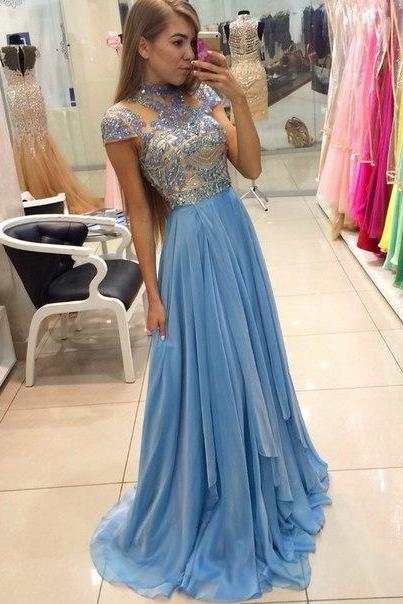 Custom Made High Quality A-Line Prom Dress,Charming Prom Gowns,Chiffon Graduation Dress,High-Neck Evening Dress,Beading Evening Dress,Noble Prom Dress,Hot Sale Formal Dress,,
