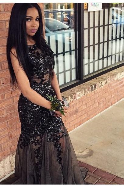 Hot Sale Beading Prom Dress,Charming Prom Gowns, Mermaid Prom Dress ,Sexy Tulle Prom Gows, Beading Evening Dress, Appliques Prom Dress,O-Neck Formal Dress,