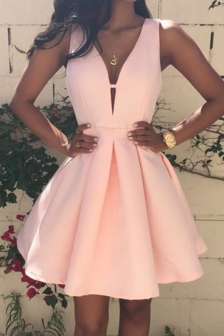 Satin Prom Dresses ,Hot Sale Homecoming Dresses,Charming Prom Dress,Pearl Pink Homecoming Dresses,Beading Evening Dress,V neck Homecoming Dresses,