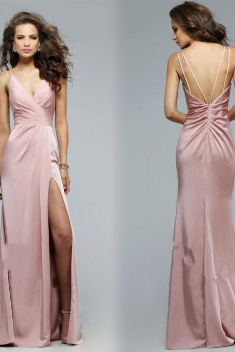 High Quality Prom Dress,Charming Prom Gowns,A line Prom Dress ,V Neck Prom Dress,Satin Prom Gows,Backless Evening Dress,Spaghetti Straps Prom Dress,Backless Formal Dress,