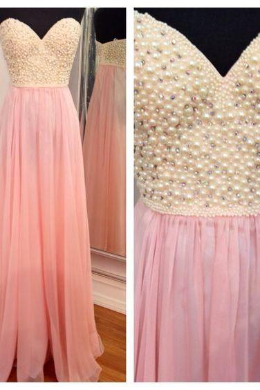 2016 Prom Dress,Charming Prom Dress,Chiffon Prom Dress ,A Line Long Prom Dress,Pink Long Prom Dress,Beading Evening Dress,Dress For Prom,Formal Dress 2016