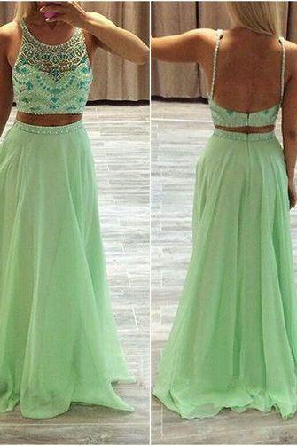 Custom Made 2 Piece Prom Dress,Sexy Backless Prom Dress,A Line Round Neck Chiffon Prom Dress ,Two Pieces Prom Dress, Beading Prom Dress ,Evening Dress 2016,Charming Prom Dress,