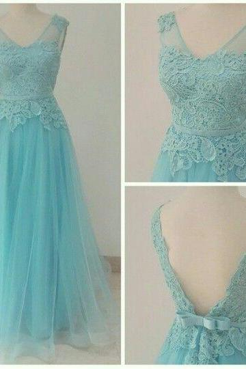 Charming Prom Dress,A-line Applique Prom Dress,Lace Prom Dress ,Lace Tulle Prom Dress,V-Neck Prom Dress,Long Graduation Dress,Long Evening Dress,Party Dress