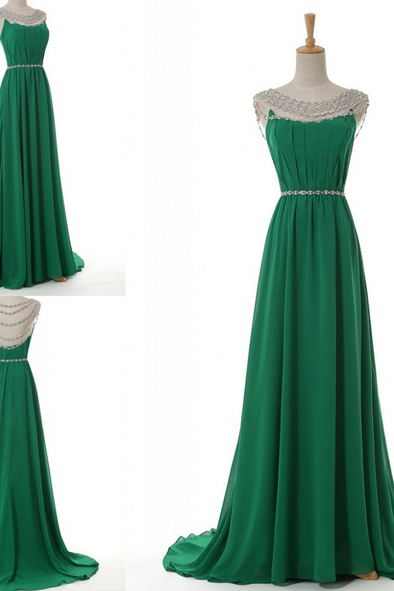Green A-Line Beading Chiffon Prom Dress,O-Neck Prom Dress,Sexy Backless Prom Dress,Charming Prom Dress,Prom Dress 2016,Formal Dress,Dress For Prom,Beading Evening Dress,Vintage Party Dress,