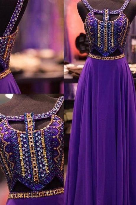 Custom Made Crystals A line Open Back Chiffon Prom Dress,Purple Beading Prom Dress,Sexy Backless Prom Dress,Charming Prom Dress,Prom Dress 2016,Formal Dress,Dress For Prom,New Style Evening Dress,Party Dress On Sale