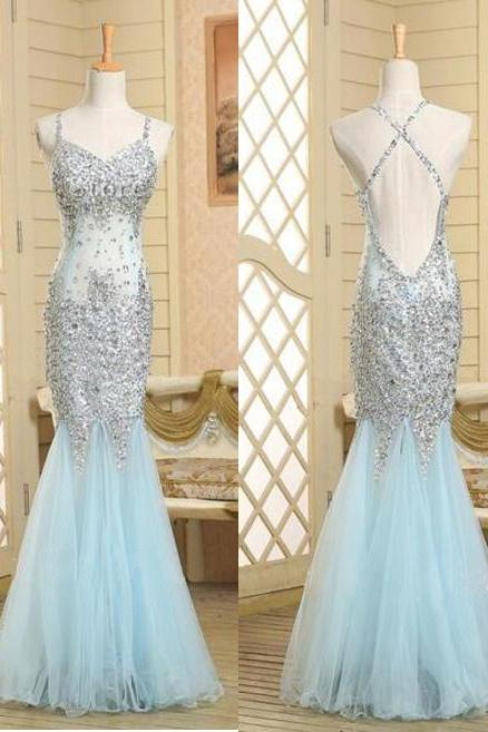 Custom Made Mermaid Prom Dress,Sexy Backless Prom Dress,High Quality Prom Dress,Charming Prom Dress,Spaghetti Strap Prom Dress,Tulle Evening Dress,