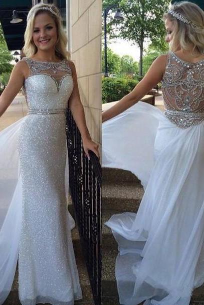 Hot Sale Prom Dresses,See Through Crystals Prom Dresses, A line Prom Dresses,2016 Sequin Beading Prom Dresses,Long Evening Dress,White Formal Party Dresses,