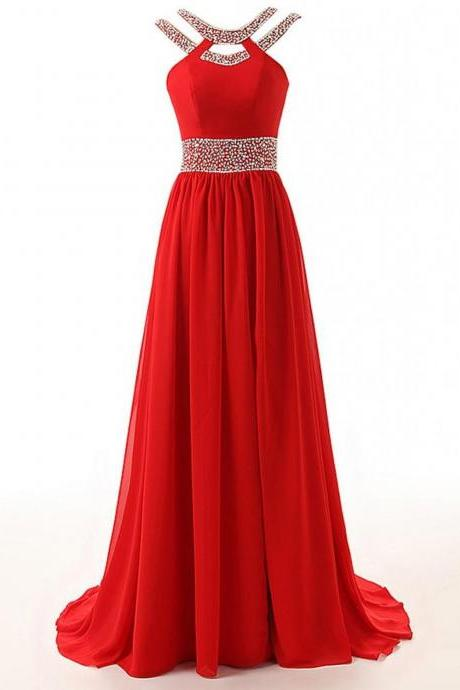 Hot Sale Prom Dresses,Red A line Prom Dress,Beading Red Evening Dress,Long Evening Dress,Red Graduation Dress,Formal Women Dress,