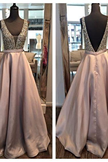Backless Prom Dress,Beading Prom Dress,Chiffon Prom Dress,Prom Dress 2016,Formal Prom Dress,Formal Party Dress,A Line Evening Dress,