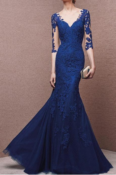 Royal Blue Lace Applique Prom Dress,Mermaid Prom Dress,See Through Open Back Prom Dress,Charming Evening Dress,Formal Prom Party Dress,Long Formal Women Dress,