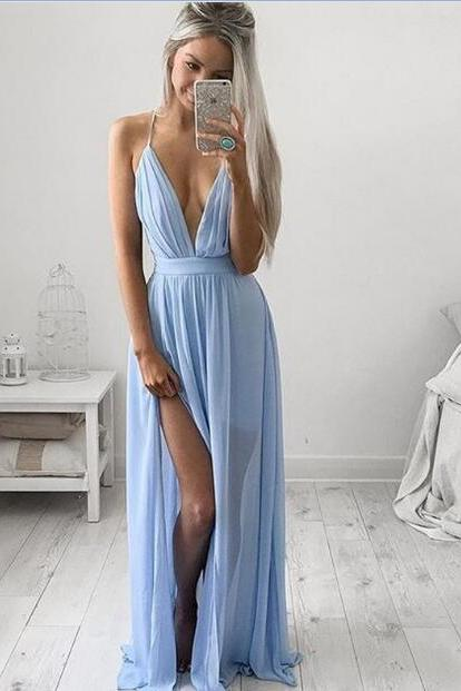 Noble Evening Dress for Teens,Simple Prom Dress,A-line Prom Dress,Long Prom Dress,Chiffon Backless Prom Dress,