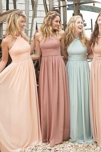 2016 New Fashion Style Bridesmaid Dress,Halter Bridesmaid Dress,Chiffon Bridesmaid Dress,Cheap Bridesmaid Dress,A line Prom Dress,