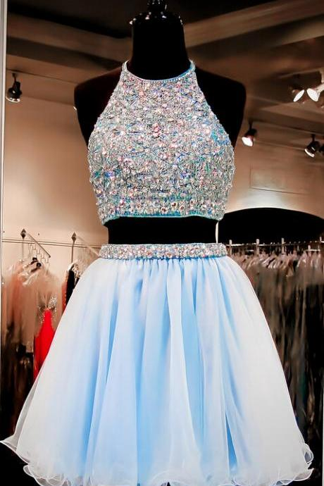 Charming Homecoming Dress,Organza Homecoming Dress,Two Pieces Homecoming Dress,Beading Homecoming Dress ,2 Piece Prom Dress