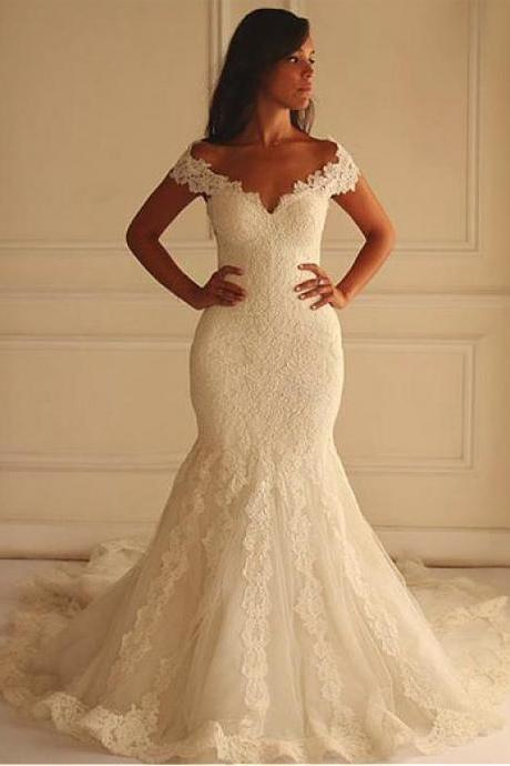 Tulle Off-the-shoulder Neckline Mermaid Wedding Dress With Lace Appliques ,Wedding Dress 2016,Bridal Dress,Wedding Dress For Bridal,
