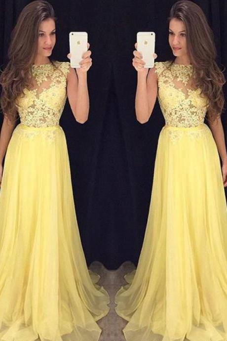 Custom Made Charming Prom Dresses, Yellow Prom Dresses 2016, Lace and Chiffon Prom Dress, Long Prom Dress, Yellow Evening Dress