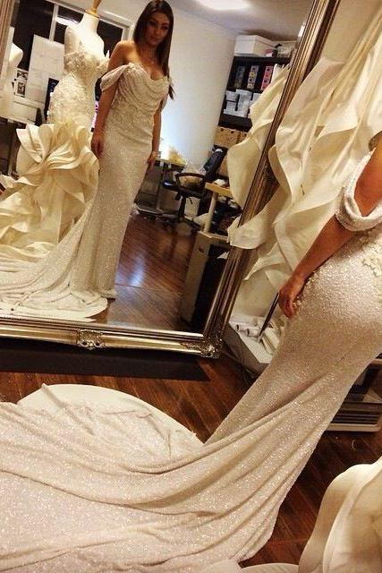 2016 New Style Sequins Prom Dresses, Off Shoulder Sequins Mearmaid Prom Dress,Evening Dress,Formal Prom Party Dress,White Flowers Applique Shiny Court Train Sexy Mermaid Evening Gowns