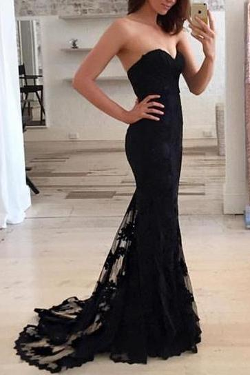 Custom Made High Quality Prom Dress,Mermaid Prom Dresses,Black Lace Prom Dress,Prom dress,Modest Evening Gowns,Cheap Party Dresses,Graduation Gowns