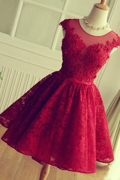Red Lace Appliques Short Prom Dresses,Homecoming Dress,Graduation Dress On Sale,Red Lace Homecoming Dress,Red Lace Prom Gowns,Elegant Short Homecoming Dress