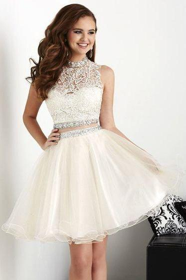 White Homecoming Dresses, Ball Gowns, Short Corset Prom Dress, Lace Prom dress, Two pieces Prom Dress, Cute Homecoming dresses,Party Dress For Teens,Graduation Dress On Sale