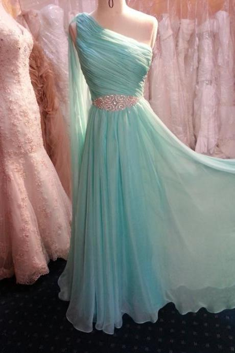 Charming Prom Dress,Pretty One Shoulder Mint Long Chiffon Prom Dress with Beadings, Long Prom Dresses, Prom Gowns, Evening Dresses, Formal Dress,A line Party Dress