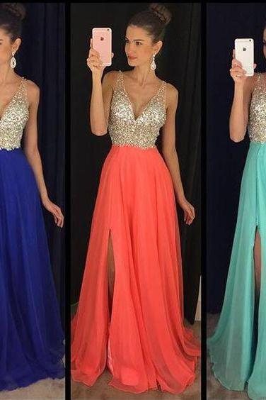 Charming Prom Dress,Sleeveless Chiffon Floor Length Prom Dresses Sequin,Sexy Prom Dress,Evening Dress,V neck Prom Gowns,Beading Prom Dress,Gurdautin Dress,Formal Dress,