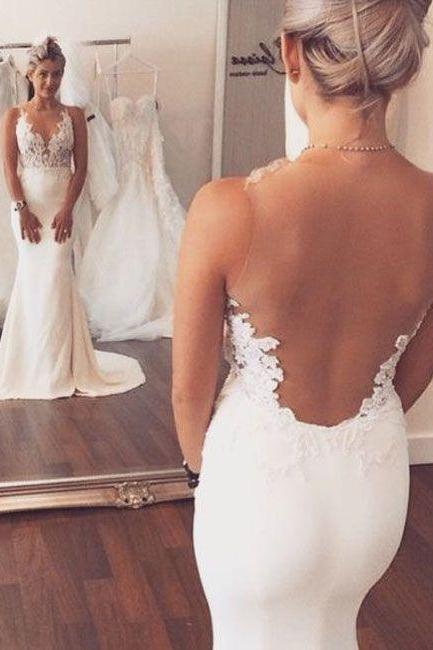 Sexy White Wedding Dress,Fashion V-neck Lace Appliques Sheer Back Mermaid Wedding Dress,Wedding Dresses 2016,Mermaid Wedding Dresses,Backless Wedding Dresses,