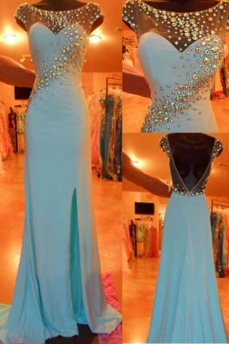 High Quality Prom Dress, Blue Prom Dresses,2016 Evening Dresses,Slit Prom Gowns,Elegant Prom Dress,BacklessProm Dresses,Chiffon Evening Gowns,2016 Open Backs Formal Dress