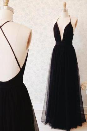 High Quality Prom Dress,Black Long Prom Dresses, A-line V-neck Prom Dresses,2016 Evening Formal Gowns ,Graduation Dress,Sexy Black Prom Presses,