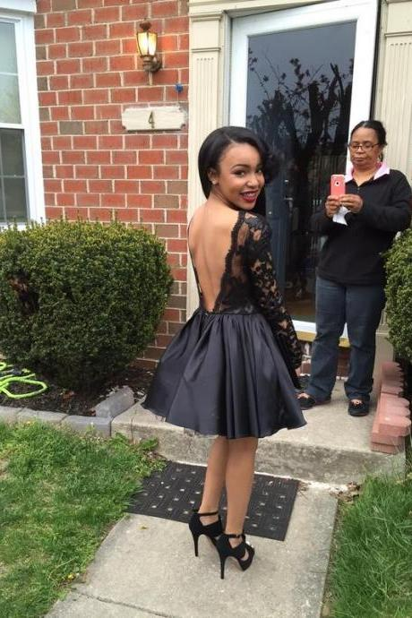 Sexy Backless Short Homecoming Dress,Little Black Homecoming Dress,Black Party Dress,Long Sleeves Homecoming Dress,Little Black Short Prom Dress,Fashion Little Black Dress