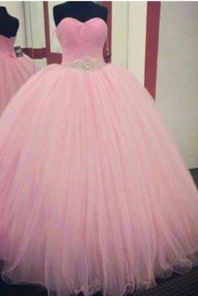 Pink Prom Dress,Ball Gown Prom Dress,Princess Prom Gown,Beaded Prom Dresses,Sexy Evening Gowns,2016 New Fashion Evening Gown,Sexy Baby Pink Graduation Dress For Teens,