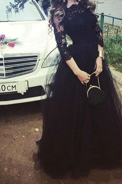 2016 New Fashion Black Prom Dress,Long Sleeve Prom Dress With Lace,Applique Black Prom Gowns,Tulle Prom Dress,Formal Dress For Prom,Long Evening Dress,Charming Evening Dress