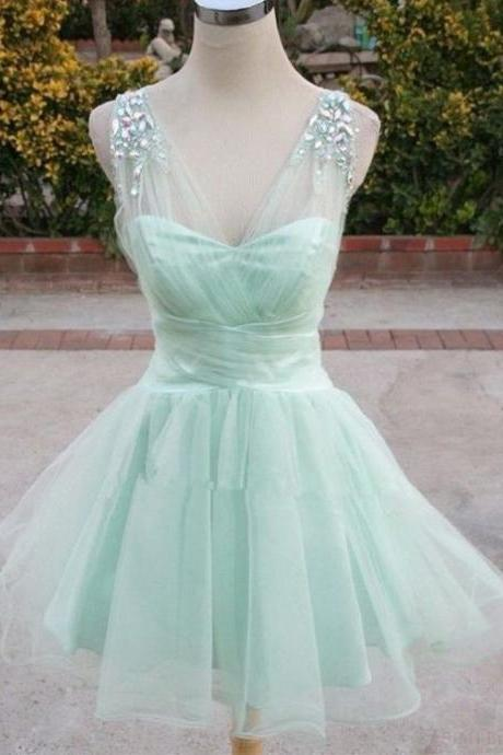 Elegant Prom Dress,A-line Homecoming Dress,V-neck Mini Organza Beading Homecoming Dress,Sexy Prom Dress,Party Dress,Short Prom Gowns,Homecoming Dress