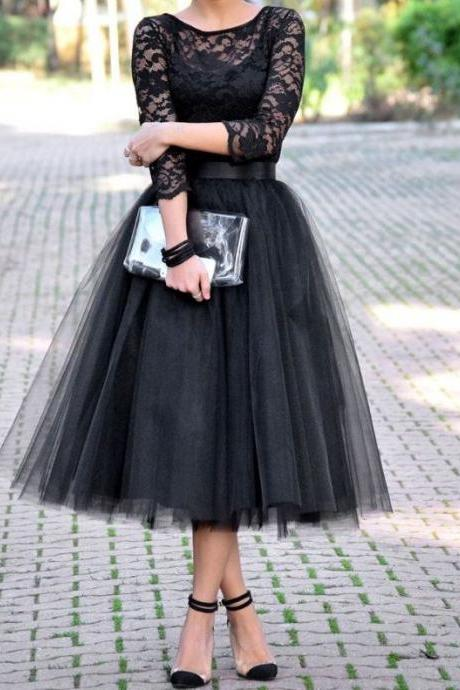 Black Lace Prom Dress,Tulle Prom Dress,Long Sleeve Prom Dress,Prom Gowns 2016,A line Homecoming Dress,