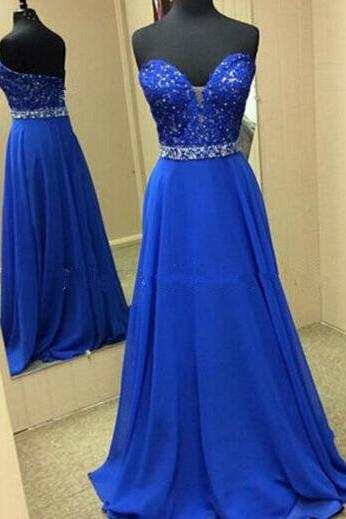Royal Blue Evening Gowns,Beaded Evening Gowns,Long Formal Dress For Teens,Lace Prom Gown,Prom Dresses 2016