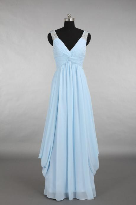 Simple Prom Dress Chiffon Long Evening Dress,A line Prom Gowns,V neck Prom Dress,Prom Dress 2016,Bridesmaids Dress,