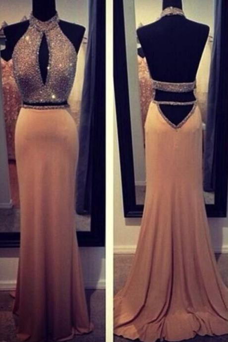 High Quality 2 Pieces Champagne Prom Dress,Backless Prom Dress,Two Piece Prom Dress,High Neck Champagne Evening Dress,Formal Dress,Champagne Prom Dress,Prom Gowns 2016