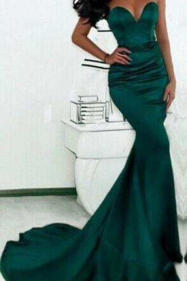 Sexy Sweetheart Mermaid Prom Dresses Sweep Train Evening Gowns,Dark Green Mermaid Evening Gowns,Prom Dresses Long Open Back Prom Gowns,