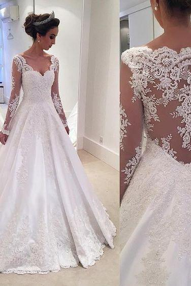 2016 Long Sleeves Wedding Dresses,Vitange Wedding Dress, Wedding Dresses, 2016,Lace Wedding Dress,Beaded A-line Wedding Dresses, Sweetheart Lace Trim Sheer Elegant Bridal Gowns,