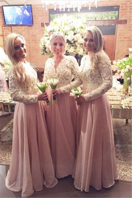 Fashion Bridesmaid Dress Long Sleeves Lace Dresses Wedding Party V