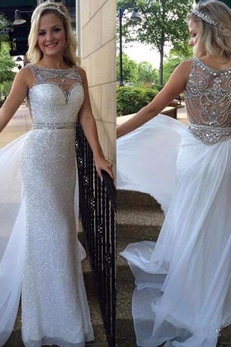 High Quality Prom Dress 2016,White Chiffon Long Prom Dress,Modest Prom Dress,See Through Prom Gowns,2016 Round neck Sparkly Evening Dress,Formal Evening Dress