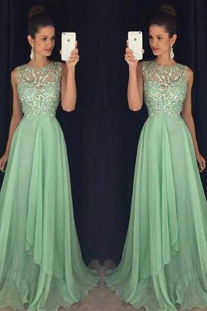 Charming Prom Dress,Wedding Party Dress,Beaded Chiffon Long Prom Dress,Formal Evening Prom Dress,Prom Dress 2016,A line Cocktail Dress,Evening Gowns,