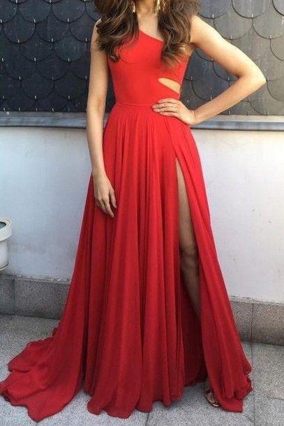 Cute A-line Chiffon Red Long Prom Dress for Teens, Unique Evening Dress, Sexy Prom Dress,Prom Dress 2016,Dress For Prom,Red Evening Dress,Formal Dress,Wedding Party Dress,