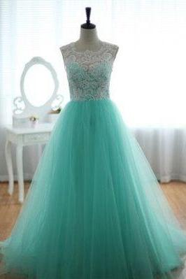 Tulle Prom Dres,Lace Prom Dress,Mint Prom Dresses,Party Dress,Evening Dress On Sale,Girl's Dress,A line Prom Gowns,Graduation Dress,Long Evening Gowns,Prom Dress 2016